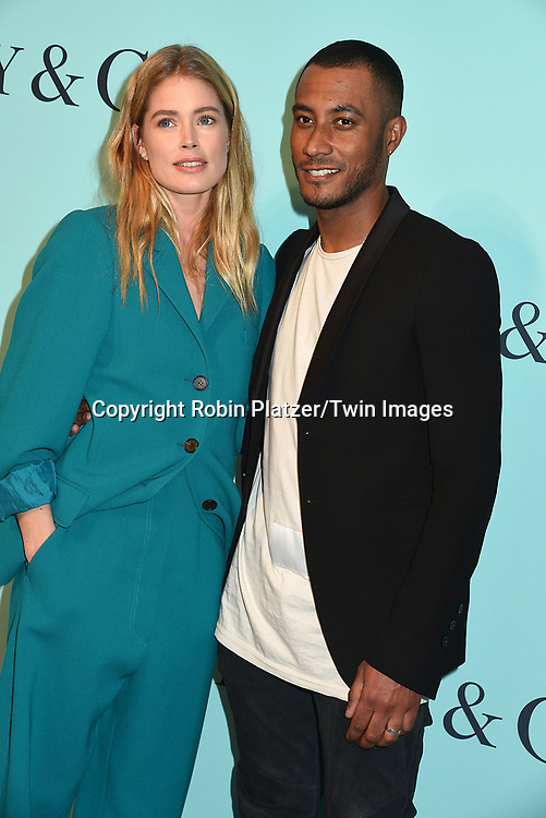 Doutzen Kroes and husband Sunnery James attend the Tiffany &amp; Co 2017 Blue Book Collection on April 21, 2017 at St Ann's Warehouse in Brooklyn, New York, USA.<br /> <br /> photo by Robin Platzer/Twin Images<br />  <br /> phone number 212-935-0770