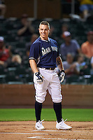 Peoria Javelinas Tyler O'Neill (11), of the Seattle Mariners organization, smiles after becoming the first player to ever hit a home run off a batting tee during the Bowman Hitting Challenge on October 8, 2016 at the Salt River Fields at Talking Stick in Scottsdale, Arizona. (Mike Janes/Four Seam Images)