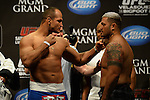 Las Vegas, NV - May 24, 2013: Junior Dos Santos faces off with Mark Hunt for their upcoming fight at UFC 160 at The MGM Grand Garden Arena inside the MGM Resort and Casino in Las Vegas, NV. (Al Powers for ESPN)