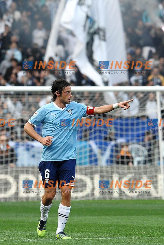 """Stefano Mauri Lazio esultanza dopo il gol.Goal celebration.Roma 4/3/2012 Stadio """"Olimpico"""".Football Calcio 2011/2012 Serie A.Roma Vs Lazio.Foto Insidefoto Andrea Staccioli"""