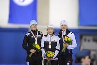 SCHAATSEN: CALGARY: Olympic Oval, 08-11-2013, Essent ISU World Cup, podium 500m, Jenny Wolf (GER), Sang-Hwa Lee (KOR), Beixing Wang (CHN), ©foto Martin de Jong