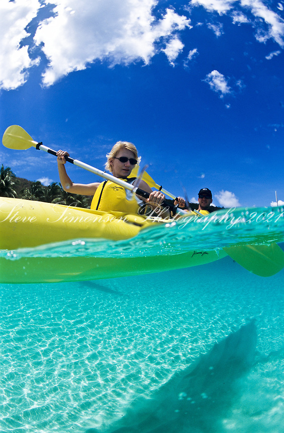 Split level Kayakers.Virgin Islands National Park.St.  John, US Virgin Islands