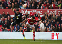 Blackburn Rovers' Derrick Williams and Nottingham Forest's Eric Lichaj<br /> <br /> Photographer Stephen White/CameraSport<br /> <br /> The EFL Sky Bet Championship - Nottingham Forest v Blackburn Rovers - Friday 14th April 2016 - The City Ground - Nottingham<br /> <br /> World Copyright &copy; 2017 CameraSport. All rights reserved. 43 Linden Ave. Countesthorpe. Leicester. England. LE8 5PG - Tel: +44 (0) 116 277 4147 - admin@camerasport.com - www.camerasport.com