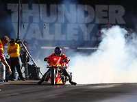 Jun 16, 2017; Bristol, TN, USA; NHRA top fuel nitro Harley Davidson rider Chris Smith during qualifying for the Thunder Valley Nationals at Bristol Dragway. Mandatory Credit: Mark J. Rebilas-USA TODAY Sports