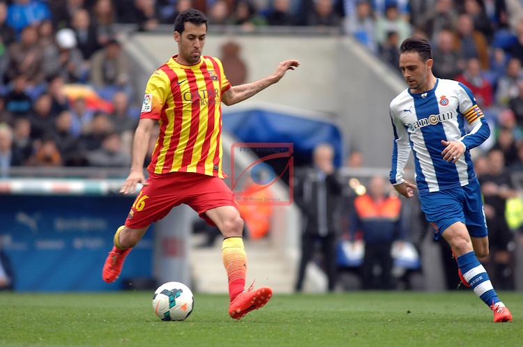 League BBVA 2013/2014 - Game: 31.<br /> RCD Espanyol vs FC Barcelona: 0-1.<br /> Sergio Busquets vs Sergio Garcia.