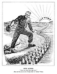 """Into Action. """"Come on, swing those right arms!"""" [Please add all you can to the """"Savings Army"""" in """"Soldiers'"""" Week.]"""