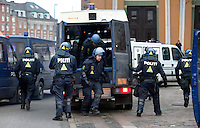 Police react to a demonstration held in Copenhagen on Dec 14. United Nations Climate Change Conference (COP15) was held at Bella Center in Copenhagen from the 7th to the 18th of December, 2009. A great deal of groups tried to voice their opinion and promote their cause in various ways. The conference and demonstrations was covered by thousands of photographers and journalists from all over the world...©Fredrik Naumann/Felix Features.