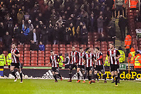 Sheffield United's defender George Baldock (2)  celebrates with his teammates going 1-0 up during the Sky Bet Championship match between Sheff United and Cardiff City at Bramall Lane, Sheffield, England on 2 April 2018. Photo by Stephen Buckley / PRiME Media Images.