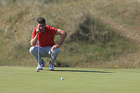 Devin Morley (Oughterard) on the 15th green during Round 4 of the East of Ireland Amateur Open Championship 2018 at Co. Louth Golf Club, Baltray, Co. Louth on Monday 4th June 2018.<br /> Picture:  Thos Caffrey / Golffile<br /> <br /> All photo usage must carry mandatory copyright credit (&copy; Golffile | Thos Caffrey)
