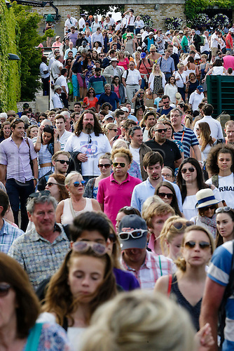 10.07.2015.  Wimbledon, England. The Wimbledon Tennis Championships. Gentlemens Singles Semi-Final match between third seed Andy Murray (GBR) and second seed Roger Federer (SUI).  Crowd filing out of the grounds after the match