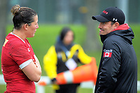 Canada captain Kelly Russell talks to coach Francois Ratier after the 2017 International Women's Rugby Series rugby match between Canada and Australia Wallaroos at Smallbone Park in Rotorua, New Zealand on Saturday, 17 June 2017. Photo: Dave Lintott / lintottphoto.co.nz