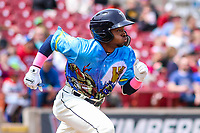 Wisconsin Timber Rattlers second baseman Devin Hairston (1) races to first base during a Midwest League game against the Great Lakes Loons on May 12, 2018 at Fox Cities Stadium in Appleton, Wisconsin. Wisconsin defeated Great Lakes 3-1. (Brad Krause/Four Seam Images)