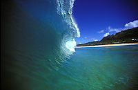 A nice turquois-blue wave at Ehukai beach along the north shore.