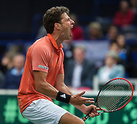 31-01-14,Czech Republic, Ostrava, Cez Arena, Davis Cup Czech Republic vs Netherlands, Robin Haase (NED) in jubilation after winning the first match against Stepanek<br /> Photo: Henk Koster