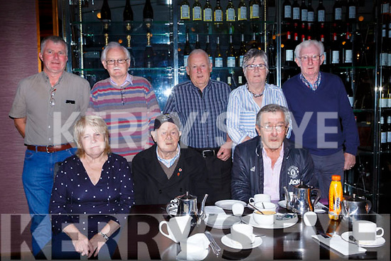 Old friends reunited for the Cian O'Donoghue memorial coffee morning in aid of Killarney Water Rescue in the Killarney Towers Hotel on Saturday front row l-r: Kay O'Donoghue, John O'Brien, Denis O'Brien. Back row: Noel Lucey, Denis and Seanie O'Donoghie, Sheila Looney and Don O'Donoghue