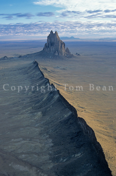 Aerial view of Shiprock, an ancient volcanic neck with radiating dikes, near Shiprock, New Mexico, AGPix_0038 .