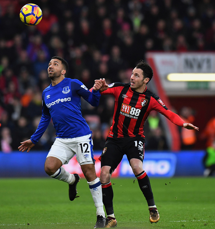 Bournemouth's Adam Smith (right) vies for possession with Everton's Aaron Lennon (left) <br /> <br /> Bournemouth 2 - 1 Everton <br /> <br /> Photographer David Horton/CameraSport<br /> <br /> The Premier League - Bournemouth v Everton - Saturday 30th December 2017 - Vitality Stadium - Bournemouth<br /> <br /> World Copyright &copy; 2017 CameraSport. All rights reserved. 43 Linden Ave. Countesthorpe. Leicester. England. LE8 5PG - Tel: +44 (0) 116 277 4147 - admin@camerasport.com - www.camerasport.com