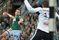 Handball 2. Bundesliga Herren - SC DHfK gegen HC Erlangen am 05.11.2013 in Leipzig (Sachsen). <br /> IM BILD: Lukas Binder (DHfK) gegen Erlangens Torwart Jan Stochl <br /> Foto: Christian Nitsche