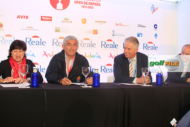 Gonzaga Escauriaza, President of the Royal Spanish Golf Federation, and Mark Lichtenhein, European Tour's Director of broadcasting and New Media, announce the official launch of the European Tour Spanish website during Thursday's Round 1 of the Open de Espana at Real Club de Golf de Sevilla, Seville, Spain, 3rd May 2012 (Photo Eoin Clarke/www.golffile.ie)