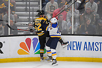 June 6, 2019: St. Louis Blues center Ivan Barbashev (49) checks Boston Bruins center Sean Kuraly (52) during game 5 of the NHL Stanley Cup Finals between the St Louis Blues and the Boston Bruins held at TD Garden, in Boston, Mass. The Blues defeat the Bruins 2-1 in regulation time. Eric Canha/CSM
