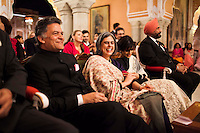 Nik Senapati (left), Managing Director of Argyle Diamonds, and OzFest ambassador Pallavi Sharda (center, right) shares a light moment with other VIPs at the front row of the violin recital by Australian violinist Niki Vasilakis at the OzFest Gala Dinner in the Jaipur City Palace, in Rajasthan, India on 10 January 2013. Photo by Suzanne Lee