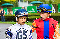 """OCTOBER 7, 2018 : Uncle Benny, ridden by Irad Ortiz Jr, wins the """"Win & You're In"""" Futurity Stakes at Belmont Park on October 6, 2018 in Elmont, NY.  Sue Kawczynski/ESW/CSM"""