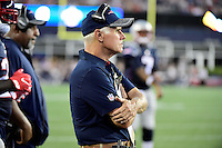 Thursday August 11, 2016: New England Patriots offensive line coach Dante Scarnecchia watches game action during an NFL pre-season game between the New Orleans Saints and the New England Patriots held at Gillette Stadium in Foxborough Massachusetts. The Patriots defeat the Saints 34-22 in regulation time. Eric Canha/CSM