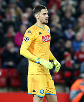 27th November 2019; Anfield, Liverpool, Merseyside, England; UEFA Champions League Football, Liverpool versus SSC Napoli ; SSC Napoli goalkeeper Alex Meret looks on from the edge of his penalty area  - Editorial Use