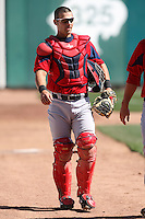 April 14, 2010:  Catcher Mark Wagner of the Pawtucket Red Sox during a game at Coca-Cola Field in Buffalo, New York.  Pawtucket is the Triple-A International League affiliate of the Boston Red Sox.  Photo By Mike Janes/Four Seam Images