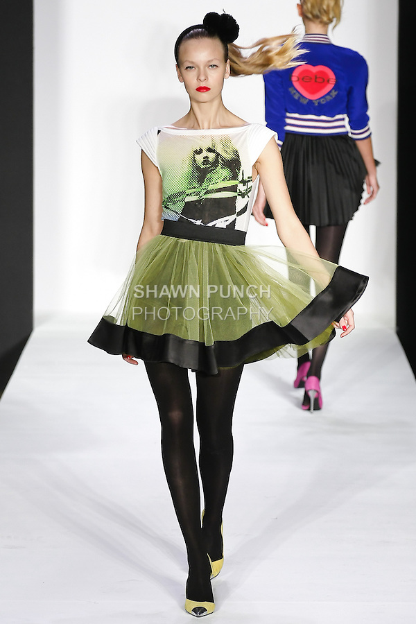 Lys walks runway in a bebeBlack Fall 2011 outfit, at the Style 360 Fall 2011 fashion show, during New York Fashion Week.