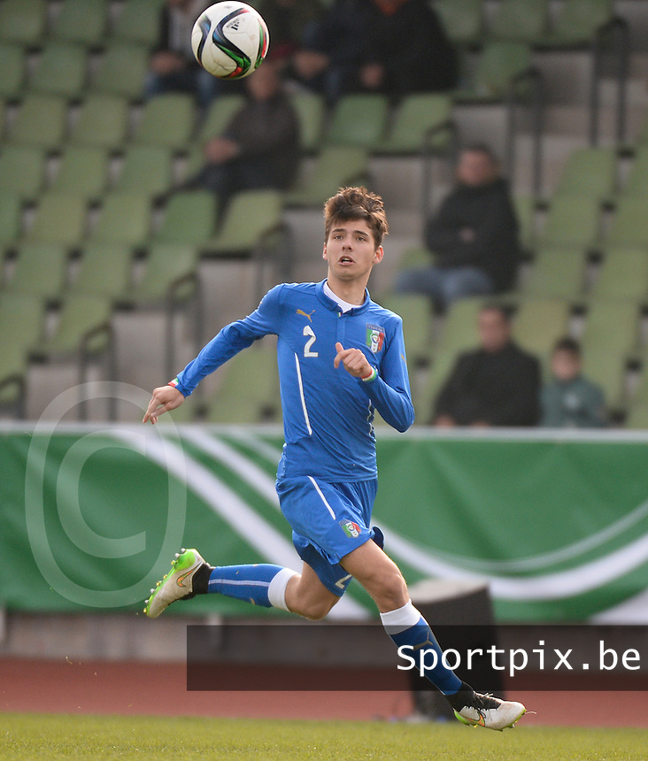 20150323 - MARBURG , GERMANY  : Italian Giuseppe Scalera pictured during the soccer match between Under 17 teams of Slovakia and Italy , on the second matchday in group 8 of the UEFA Elite Round Under 17 at Georg-Gassmann , Marburg Germany . Monday 23 rd  March 2015 . PHOTO DAVID CATRY