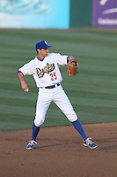 Tim Locastro (25) of the Rancho Cucamonga Quakes throws between innings of a game against the High Desert Mavericks at LoanMart Field on August 3, 2015 in Rancho Cucamonga, California. Rancho Cucamonga defeated High Desert, 2-1. (Larry Goren/Four Seam Images)