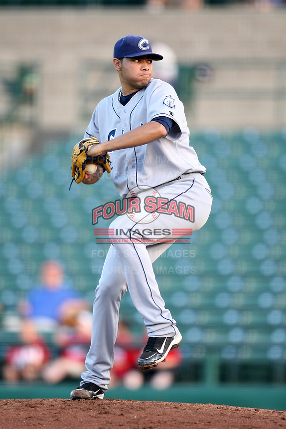 Columbus Clippers Starting Pitcher Jeanmar Gomez (44) during a game vs. the Rochester Red Wings at Frontier Field in Rochester, New York;  June 21, 2010.   Rochester defeated Columbus 2-1.  Photo By Mike Janes/Four Seam Images