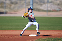 Lucas Weaver (43), from Union, Kentucky, while playing for the Indians during the Under Armour Baseball Factory Recruiting Classic at Red Mountain Baseball Complex on December 28, 2017 in Mesa, Arizona. (Zachary Lucy/Four Seam Images)