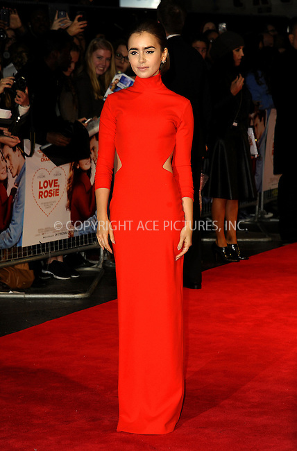 WWW.ACEPIXS.COM<br /> <br /> US SALES ONLY<br /> <br /> October 6, 2014, London, England<br />  <br /> Lily C ollins arriving at the World Premiere of 'Love, Rosie' held at Odeon West End on October 6, 2014 in London, England.<br /> <br /> By Line: Famous/ACE Pictures<br /> <br /> ACE Pictures, Inc<br /> Tel: 646 769 0430<br /> Email: info@acepixs.com