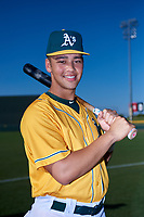 AZL Athletics Gold T.J. Schofield-Sam (37) poses for a photo before an Arizona League game against the AZL Rangers on July 15, 2019 at Hohokam Stadium in Mesa, Arizona. The AZL Athletics Gold defeated the AZL Rangers 9-8 in 11 innings. (Zachary Lucy/Four Seam Images)