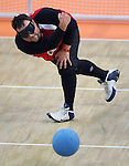 Rob Christy of Ottawa takes a shot in goalball action against the United States at the Paralympic Games in Beijing, Monday, Sept., 8, 2008.  Photo by Mike Ridewood/CPC