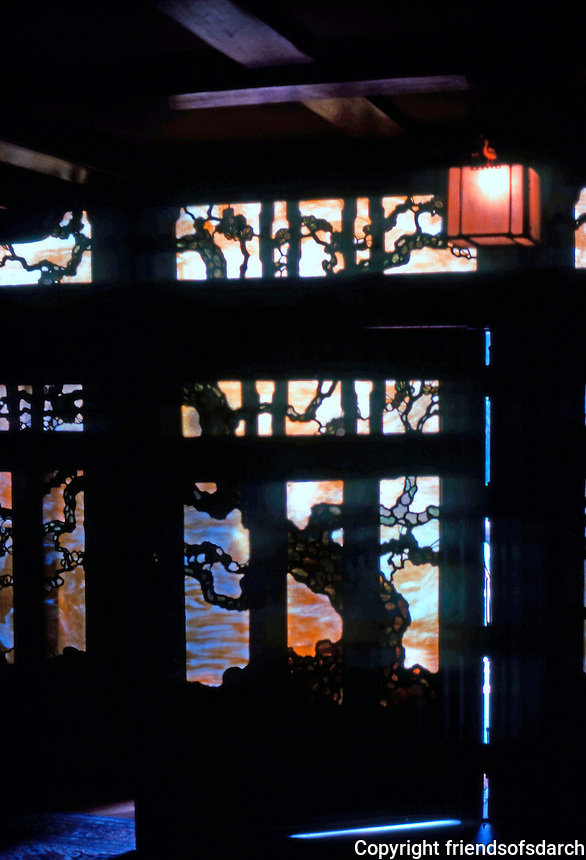 Greene & Greene: Gamble House. Front door from foyer.  Photo '77.