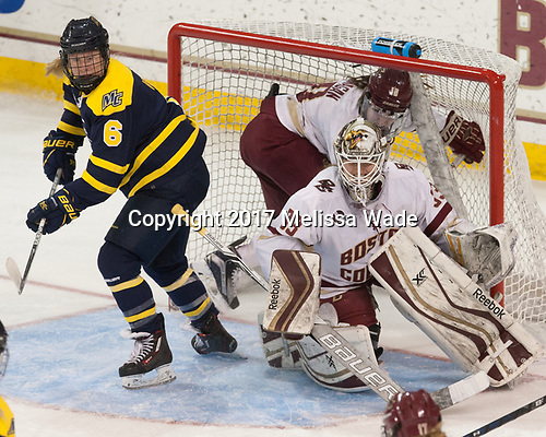 Paige Voight (Merrimack - 6), Kali Flanagan (BC - 10), Katie Burt (BC - 33) - The number one seeded Boston College Eagles defeated the eight seeded Merrimack College Warriors 1-0 to sweep their Hockey East quarterfinal series on Friday, February 24, 2017, at Kelley Rink in Conte Forum in Chestnut Hill, Massachusetts.The number one seeded Boston College Eagles defeated the eight seeded Merrimack College Warriors 1-0 to sweep their Hockey East quarterfinal series on Friday, February 24, 2017, at Kelley Rink in Conte Forum in Chestnut Hill, Massachusetts.