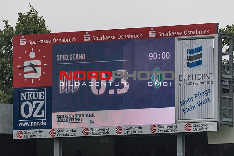 16.07.2017, Stadion an der Bremer Bruecke, Osnabrueck, GER, FSP VfL Osnabrueck vs SV Werder Bremen<br /> <br /> im Bild<br /> Anzeigetafel / Endstand, Feature<br /> <br /> Foto &copy; nordphoto / Ewert