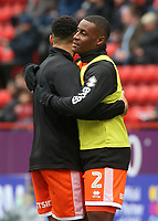 Blackpool's Donervon Daniels during the pre-match warm-up <br /> <br /> Photographer David Shipman/CameraSport<br /> <br /> The EFL Sky Bet League One - Charlton Athletic v Blackpool - Saturday 16th February 2019 - The Valley - London<br /> <br /> World Copyright © 2019 CameraSport. All rights reserved. 43 Linden Ave. Countesthorpe. Leicester. England. LE8 5PG - Tel: +44 (0) 116 277 4147 - admin@camerasport.com - www.camerasport.com