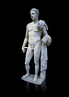 The 'Atalante Hermes' Roman marble statue found at Atalante. 2nd Cemt AD copy of the 4th cent BC Lysippean Greek style. Athens Archaeological Museum, cat no 240. Against black<br /> <br /> Funserary statue of a youth depicted as Hermes. He is shown nude with his chlamys over his shoulder and wound around his right arm. In his left hand he holds a 'caduceus'.
