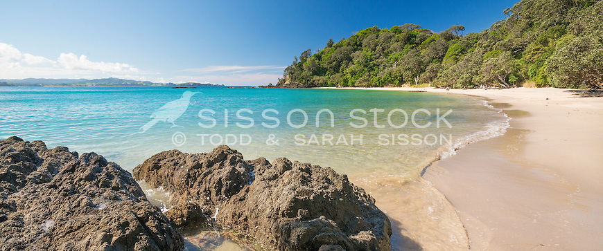 Golden sand beach and clear water at Whale Bay, Tutukaka Coast, Northland, New Zealand - stock photo, canvas, fine art print