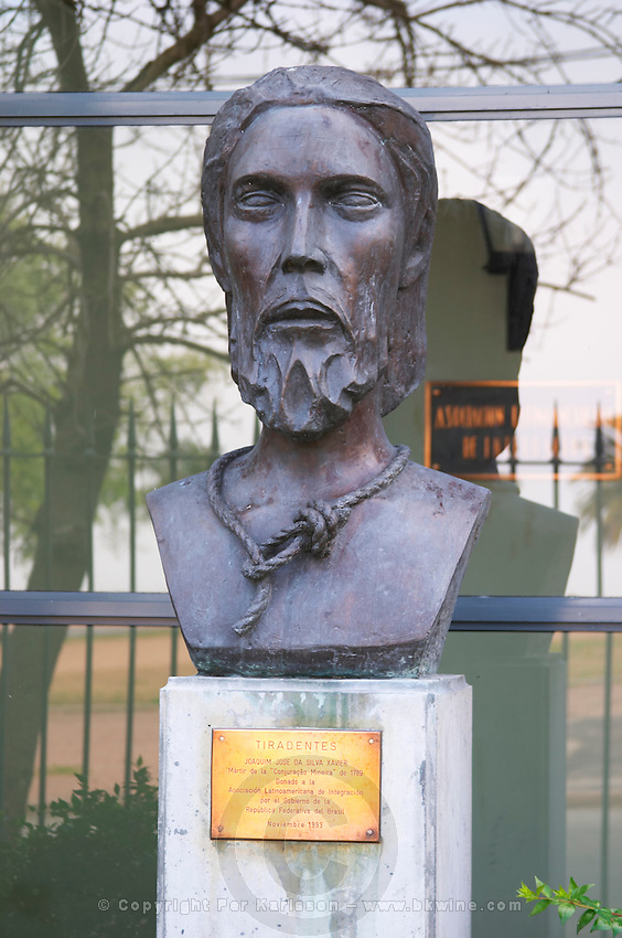 Statue bust in front of a military building close to Carlos Morales Street depicting Tiradentes (tooth-puller) Joaquim Jose de Silva Xavier Martyr of Conjuracao Mineira a Brazilian cavalry officer who led the first conspiracy to overthrow the Portuguese rule Montevideo, Uruguay, South America