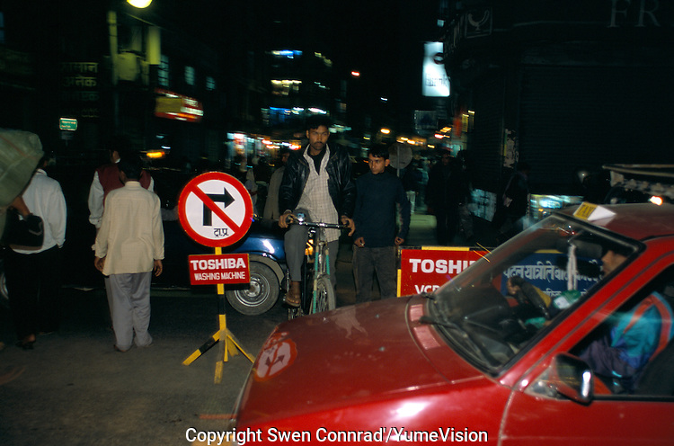 Midnight on Ganga Path New Road in Kathmandu City, Nepal