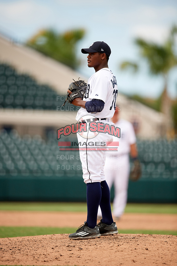 Detroit Tigers pitcher Sandel De La Cruz (70) looks in for the sign during an Instructional League game against the Toronto Blue Jays on October 12, 2017 at Joker Marchant Stadium in Lakeland, Florida.  (Mike Janes/Four Seam Images)