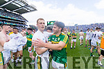 Kerry players celebrate their victory over Kildare in the All Ireland Minor Football Semi Final at Croke Park on Sunday.