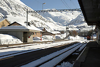 Realp railway station in the Swiss alps. Switzerland.