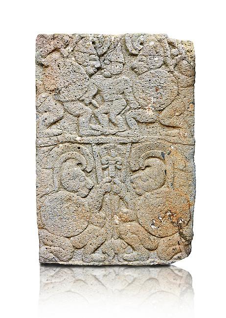 Pictures & images of the North Gate Hittite sculpture stele depicting soldiers. 8the century BC.  Karatepe Aslantas Open-Air Museum (Karatepe-Aslantaş Açık Hava Müzesi), Osmaniye Province, Turkey. Against white background
