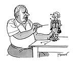 (Former British Prime Minister Edward Heath sticks pins into a Margaret Thatcher voodoo doll)
